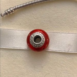 Pandora Retired Red Glass Bubbles Charm